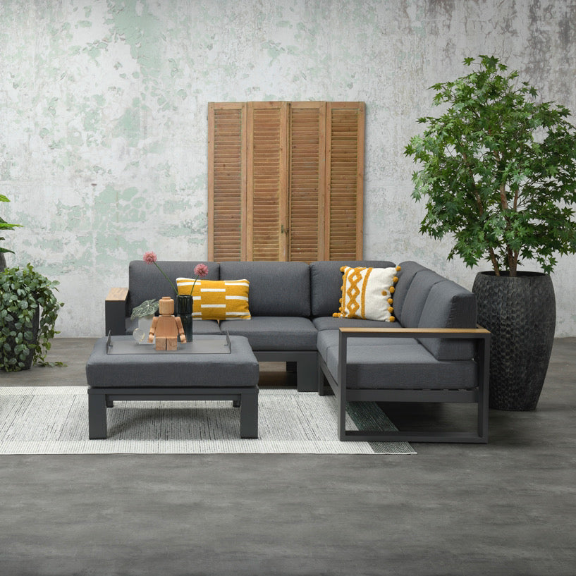 Cube Lounge Corner Set - Slate Grey