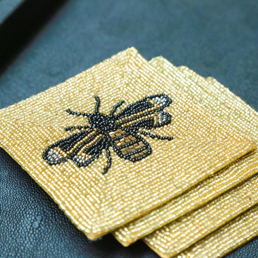 Gold Beaded Bee Coasters