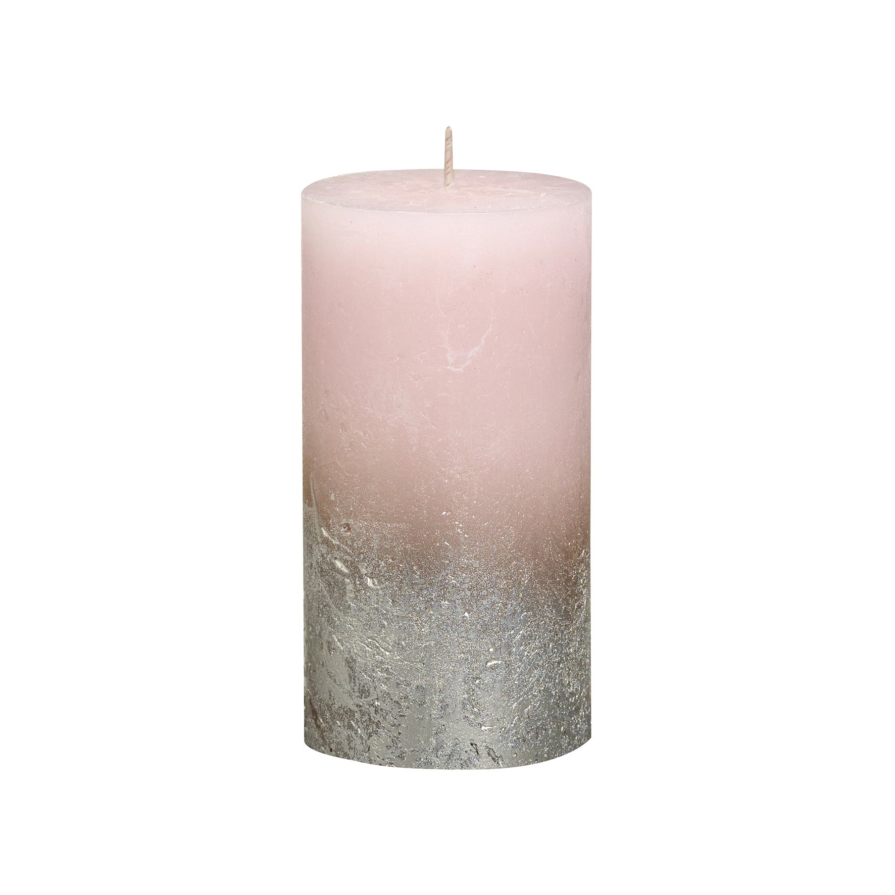 Rustic Ombre Metallic Candle - Faded Champagne Pink