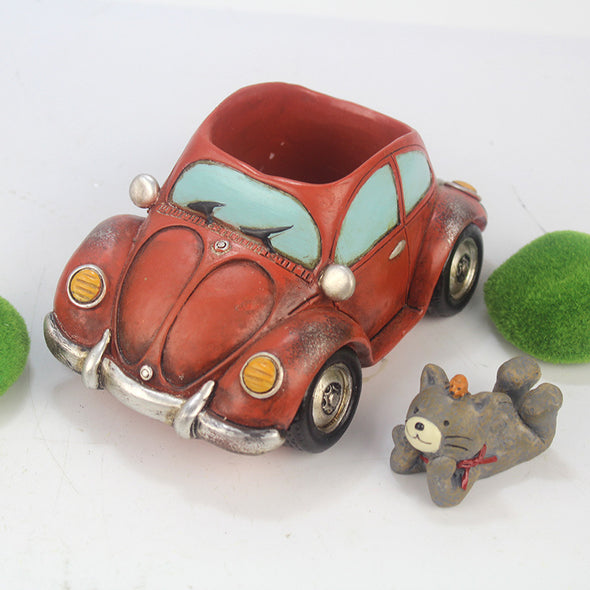 Retro Car Resin Flower Pot