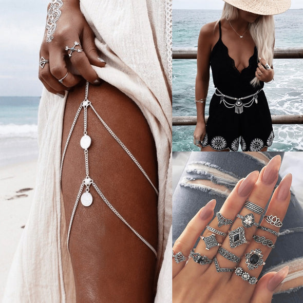 Vintage Waist Leg Chain & Ring Set
