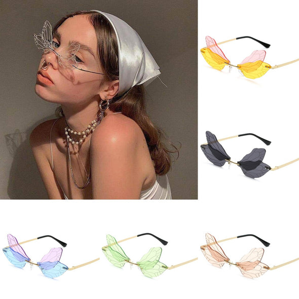 Fashion Rimless Dragonfly Wing Sunglasses