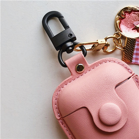 Pink Airpods 1/2 & Pro Button PU Leather Case