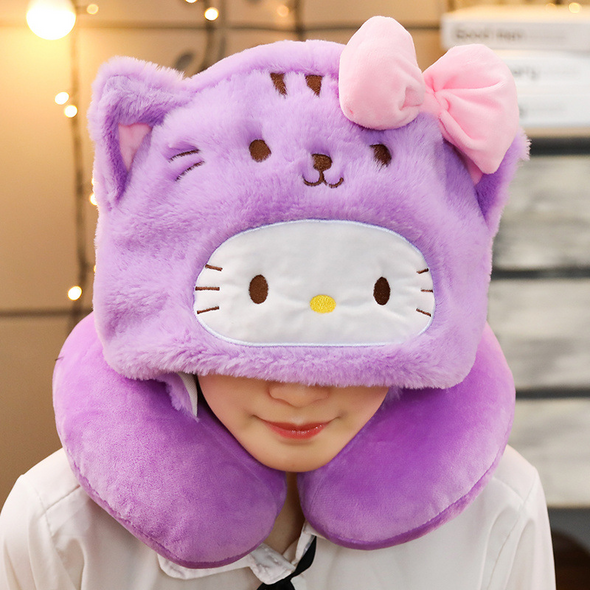 U-Shaped Soft Neck Pillow with Hood