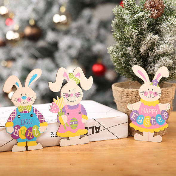 Easter Wooden Decorations Bunny Set