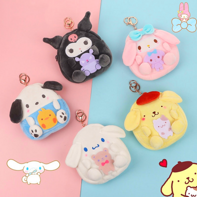 Cartoon Doll Plush Coin Purse Keychain