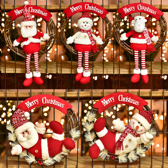 Cute Christmas Ornaments Wreath(Burlap+Rattan)