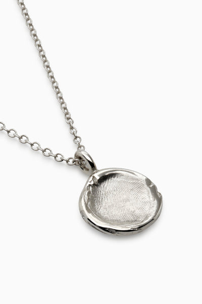 Mini Fingerprint Necklace | White Gold