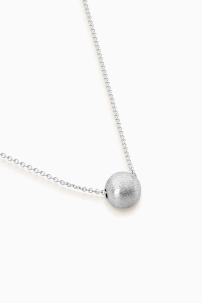 Brushed Bead Necklace | Silver