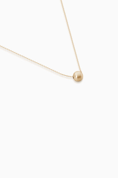 Brushed Bead Necklace | Gold