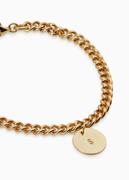 Curb Chain Disc Bracelet | Gold