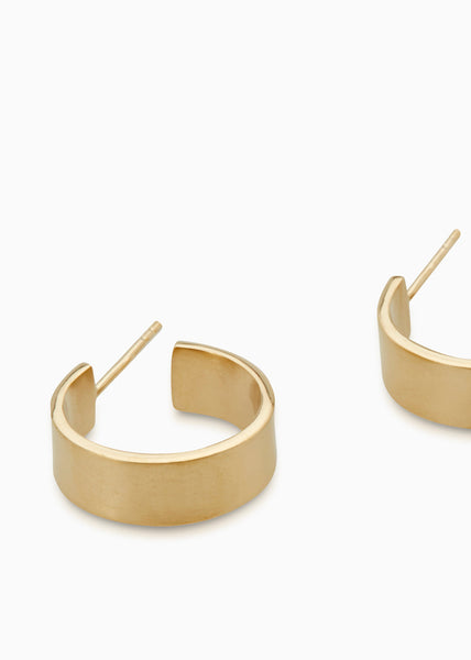 Fine Brushed Matte Hoops | Gold
