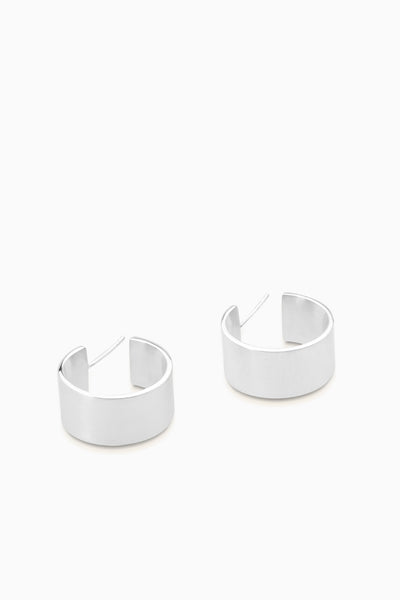 Brushed Matte Hoops | Silver