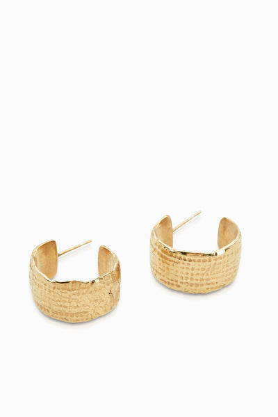 Linen Textured Hoops | Gold