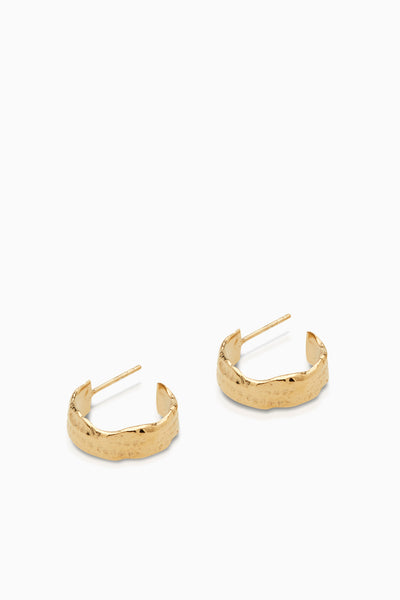 Fine Linen Textured Hoops | Gold