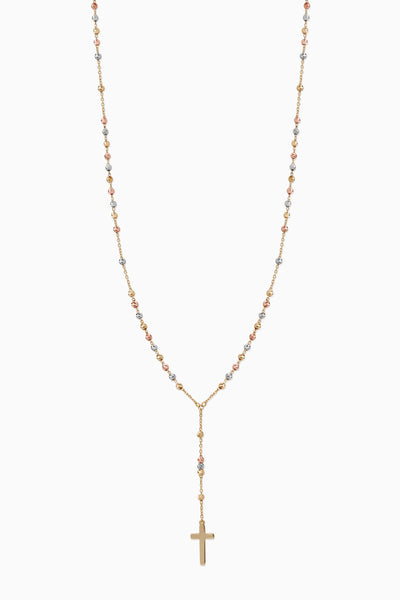Rosary Necklace | Solid 18k Mix Yellow, Rose & White Gold