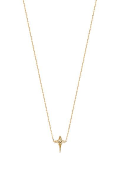 X Mini Folded Cross Necklace | Solid Yellow Gold