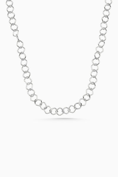Square Link Necklace | Silver