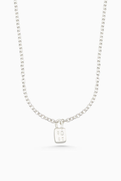 Hand Stamped Baggage Necklace | Silver