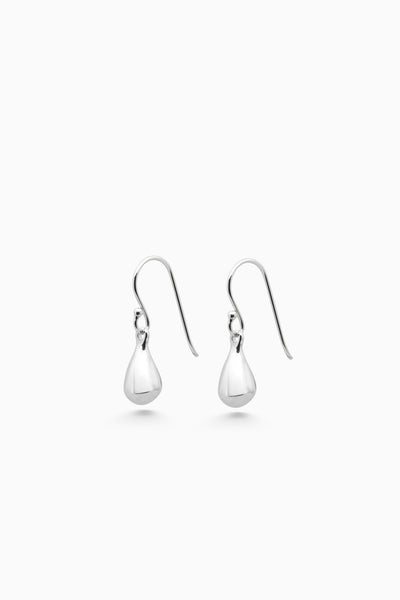Tear Drop Hook Earrings | Silver