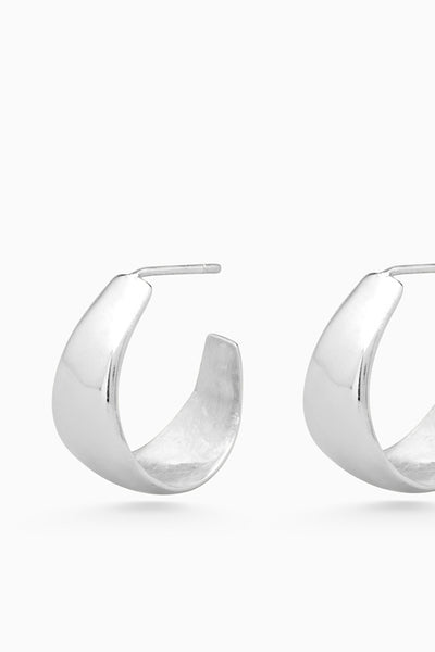 Tear Drop Hoops | Silver