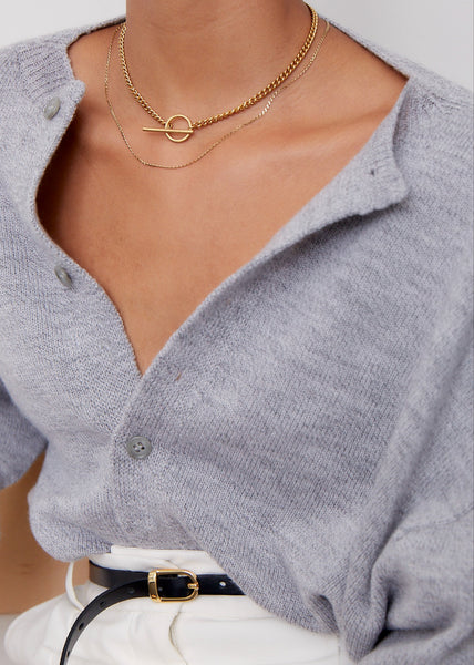 Curb Chain Fob Necklace  | Gold