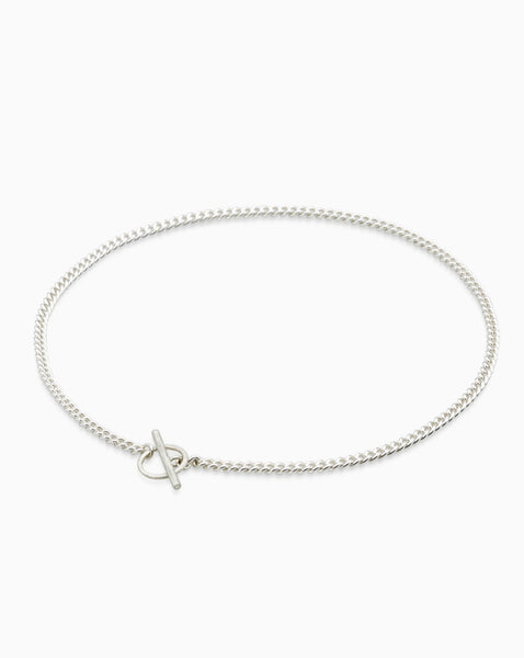 Curb Chain Fob Necklace  | Silver