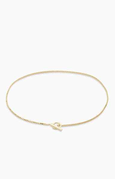 Box Chain Fob Necklace  | Gold