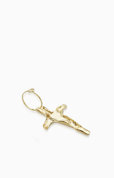 Folded Cross Earring  |  Gold