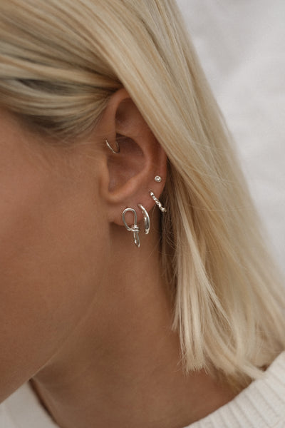 Wave Link Earrings | Silver