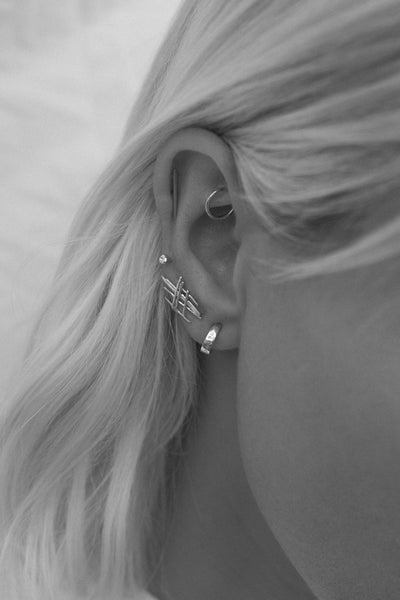 Tiny Battered Hoops | Silver