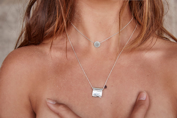 Linen Plaque Necklace | Silver