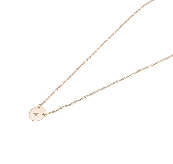 Mini Personalised Plate Necklace | Solid Rose Gold