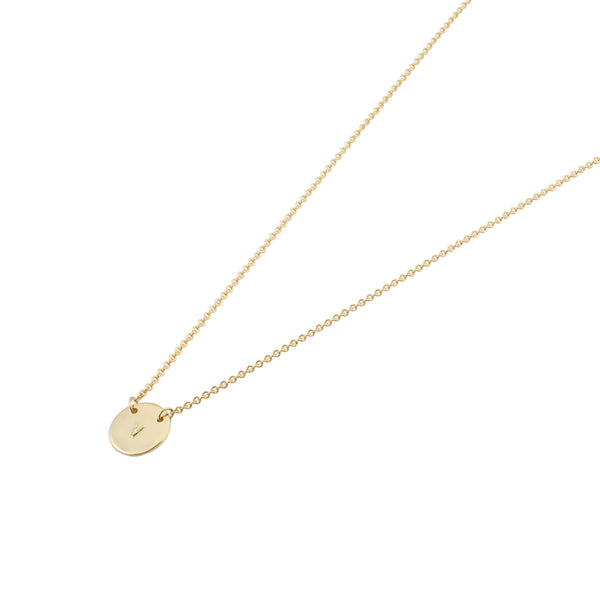 Mini Personalised Plate Necklace | Solid Yellow Gold