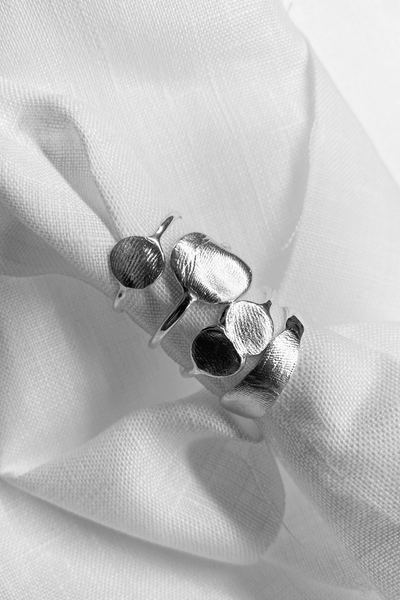 X Mini Fingerprint Ring | Silver