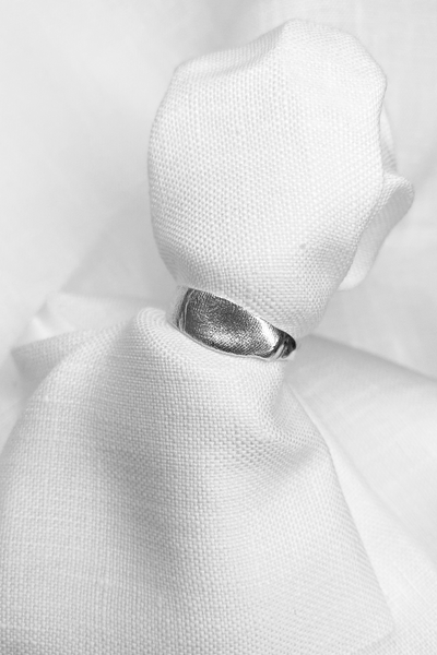 Fingerprint Band Ring | Silver