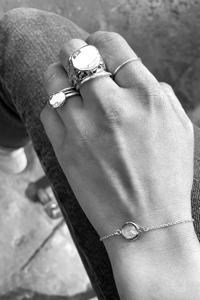 X Mini Fingerprint Bracelet | White Gold