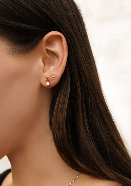 Tiny Concave Studs | Gold