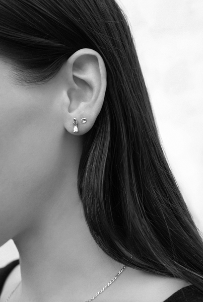 Tiny Concave Studs | Silver