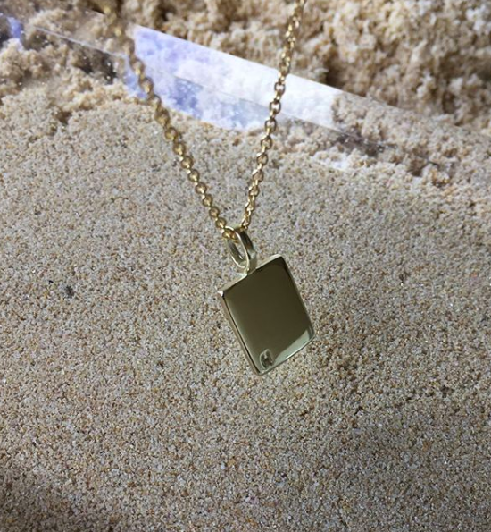 ID Tag Necklace with Box Chain Gold Plated | Kristy Matthews