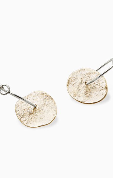 Organic Disc Earrings |  Gold