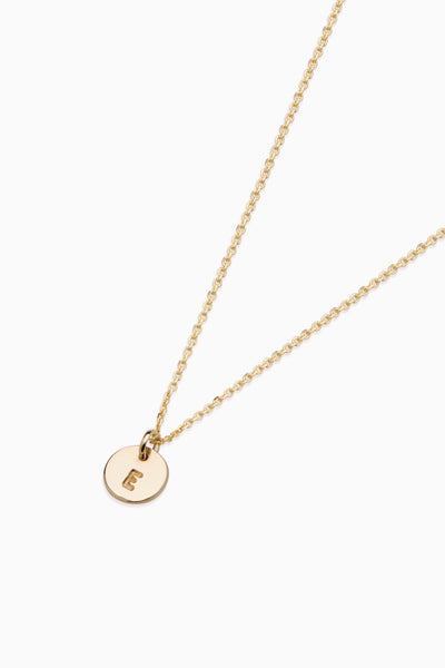 X Mini Disc Necklace | Solid Yellow Gold