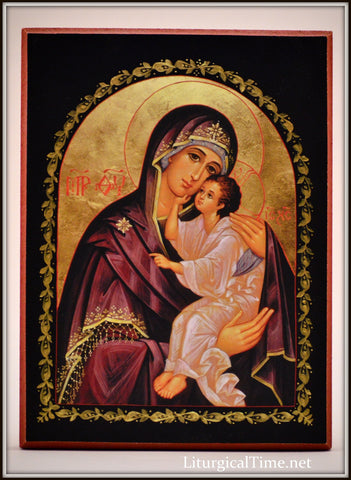 Orthodox Icon ~ Mother of God, Lovingkindness~ Icon Print Mounted on Wood - ICN10
