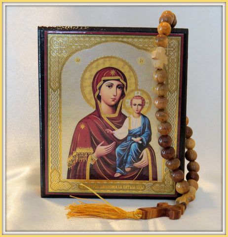 Prayer Rope / Beaded Prayer Rope / Orthodox rosary / Icon Box With 30 Knots Wooden Prayer Rope