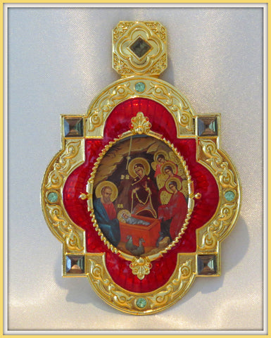 Nativity of Christ Icon Pendant / Orthodox icon pendant /Christmas icon./ desk icons / Orthodox gifts