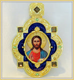 Orthodox Gift / Christ The Teacher Framed Icon Pendant With Chain