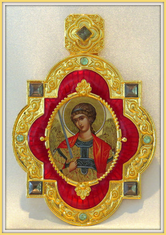Saint Michael Jeweled Faberge Style Icon Pendant With Chain  - PDT1