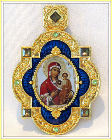 Smolensk Mother of God & Child Faberge Inspired Icon Pendant  - PDT3