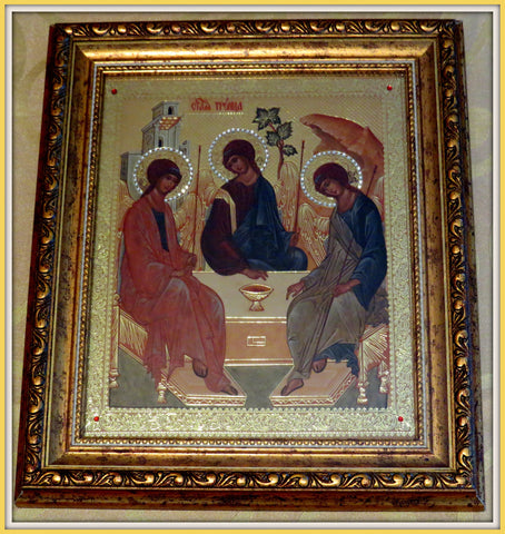 Holy Trinity Icon Gold Framed with Glass, Crystals - ICN6