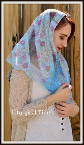 Head Scarves FTM1b - Lightweight Floral Mantilla Chapel Veil Church Headcovering in blue